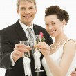 Bride and groom toasting. — Stock Photo