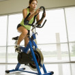 Stock Photo: Woman exercising on bike.