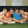 Group smiling girls. - Stock Photo