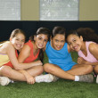 Group smiling girls. — Stock Photo