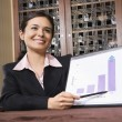 Businesswoman with bar graph. — Stock Photo