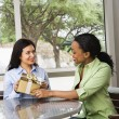 Woman Giving Female Friend a Gift - Stock Photo