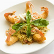 Pasta dish with shrimp. — Stock Photo