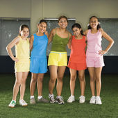 Girls and coach. — Stock Photo