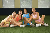 Group laughing girls. — Stock Photo