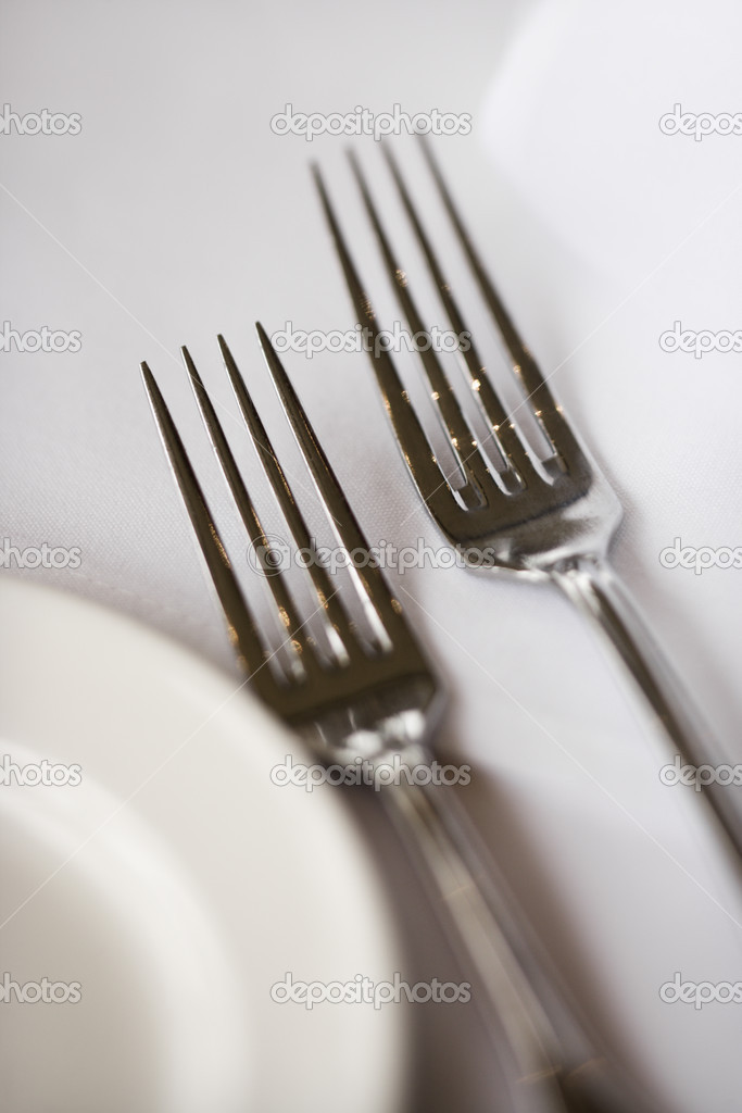 Salad fork and dinner fork with plate on white table cloth. — Stock Photo #9255852