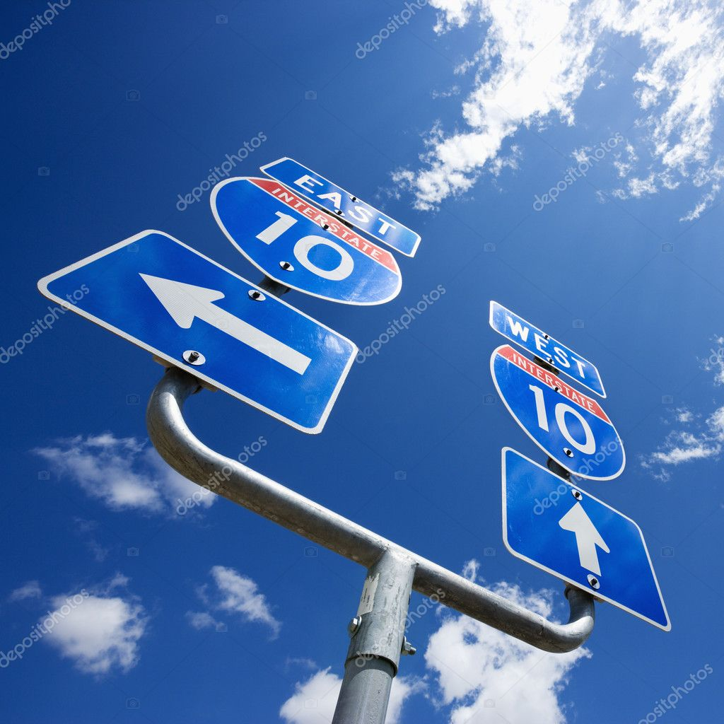 Highway interstate 10 sign with arrows showing direction. — Stock Photo #9257909