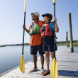 Stock Photo: Boaters on dock.