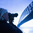 Male teen photographing bridge. — Stock Photo #9278771