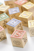 Alphabet toy blocks. — Stock fotografie