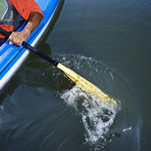 Man paddling kayak. — Stock Photo
