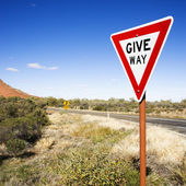 Sign reading Give Way — Stock Photo