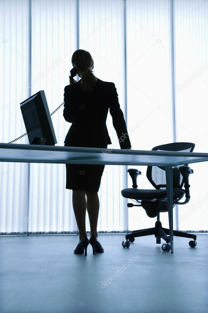 Silhouette of Caucasian businesswoman standing at computer desk on telephone. — Stock Photo #9275725