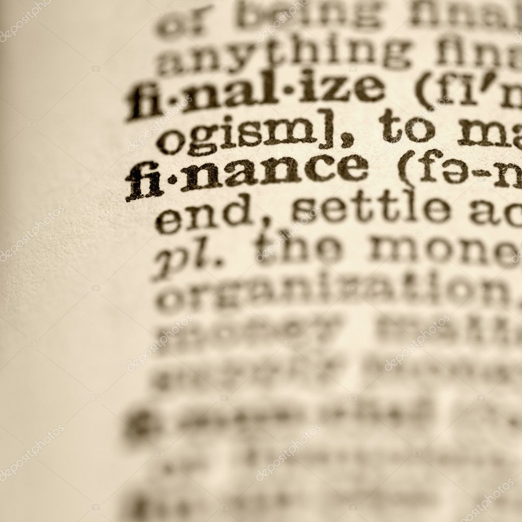 Selective focus of dictionary entry for the word finance. — Stock Photo #9276148