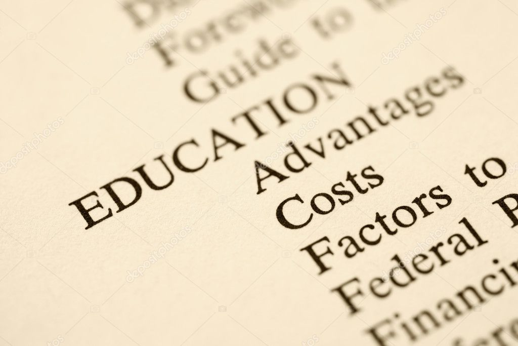 Selective focus of table of contents page relating to education. — Stock Photo #9276152