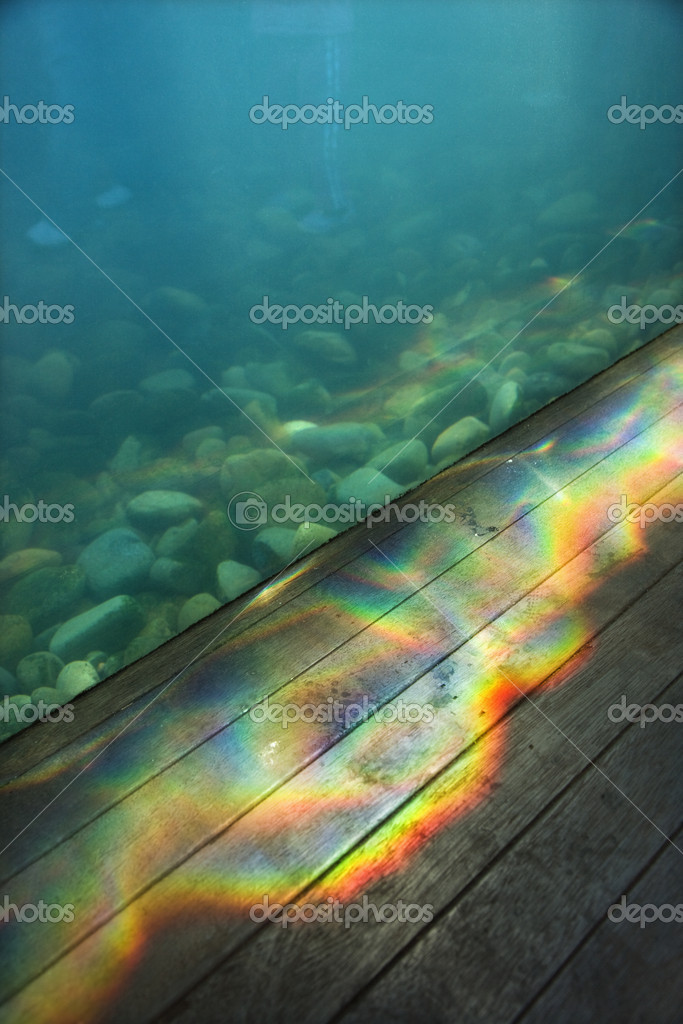 Aquarium with rainbow pattern of light passing through water onto wood paneling. — Stock Photo #9277233