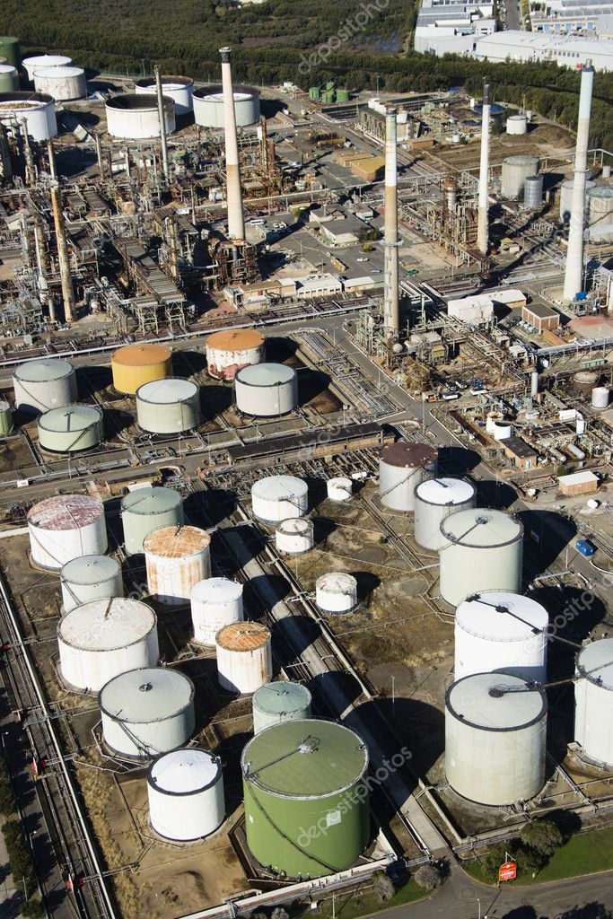 Aerial view of oil refinery in Australia.  Stock Photo #9278173