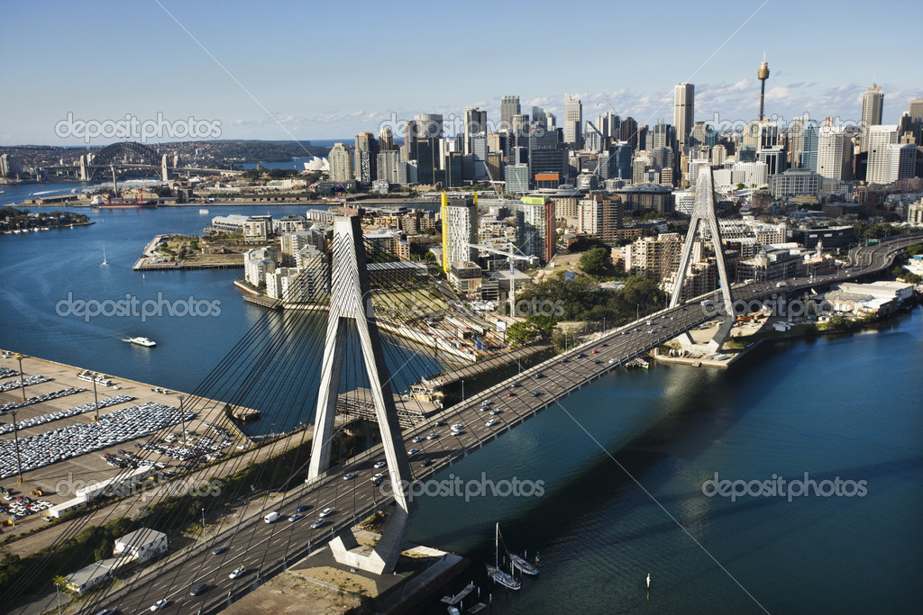 Aerial view of Anzac Bridge and buildings in Sydney, Australia. — Stock Photo #9278196