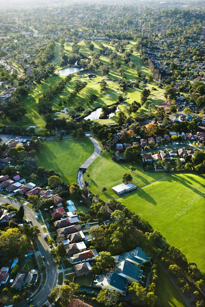 Aerial view of Ryde Parramatta Golf Course and buildings in West Ryde, Australia. — Stock Photo #9278317