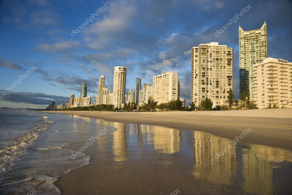 Beachfront high rise buildings on Surfers Paradise, Australia.  Stock Photo #9279037