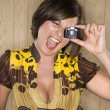 Stock Photo: Woman with toy camera.