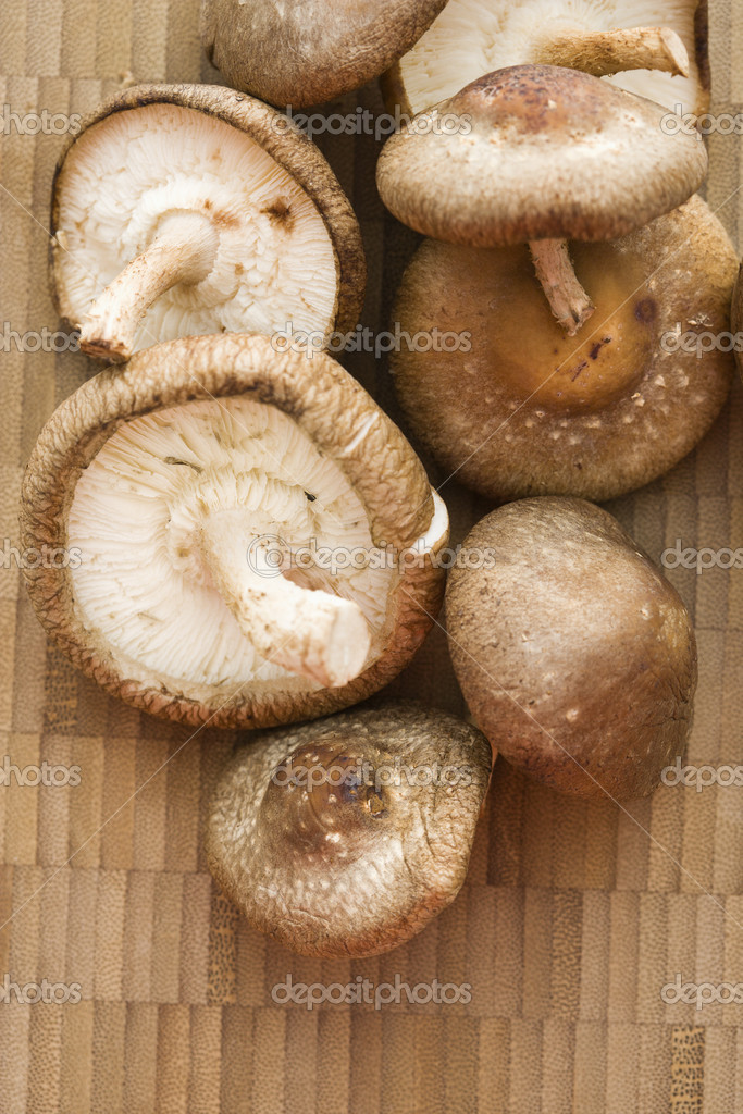 Pile of shiitake mushrooms on bamboo mat. — Stock Photo #9281006