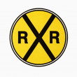 Railroad crossing sign. - Zdjęcie stockowe
