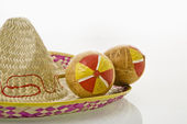 Maracas and sombrero. — Stock Photo