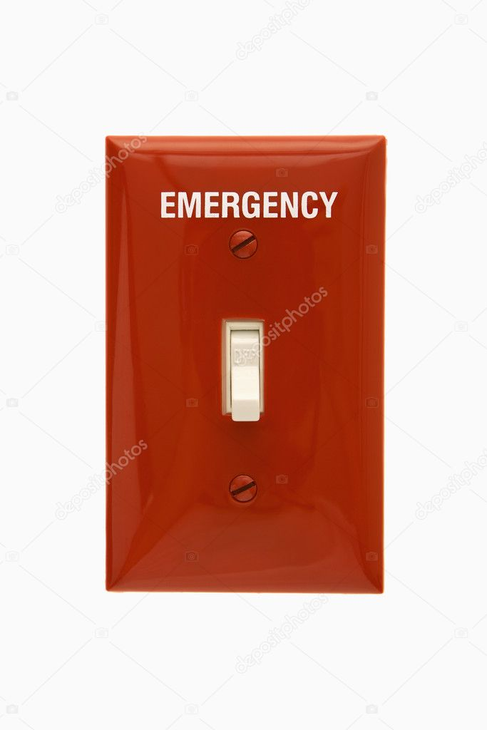 Red emergency switchplate with switch in off position. — Stock Photo #9299985