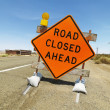 Road closed ahead sign. - Stock Photo