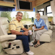 Senior couple  in RV. — Stock Photo