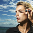 Young Male Mascara Applied - Stockfoto