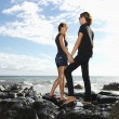 Attractive Young Couple on Rocks — Stock Photo