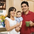 Family in kitchen. - Stock Photo