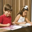 Kids doing homework. — Stockfoto