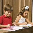 Stock Photo: Kids doing homework.