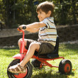 Stock Photo: Boy riding tricycle.