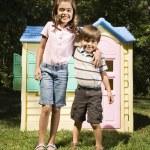 Siblings outside. — Stock Photo
