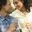 Couple having wine. — Stock Photo