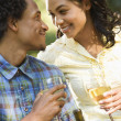 Stock Photo: Couple having wine.