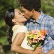 Foto Stock: Couple kissing.
