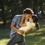 Couple getting romantic. — Stock Photo