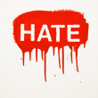Stock Photo: Hate painted on wall.