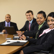 Stock Photo: Smiling businesspeople.