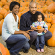 Family picking pumpkin. — Stock Photo