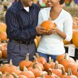 Stock Photo: Couple buying pumpkin.