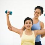 mujer y fitness instructor — Foto de Stock