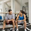 Socializing at gym - Stock Photo