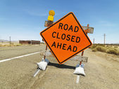 Road closed ahead sign. — Stock Photo