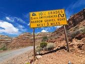 Steep road warning. — Stock Photo